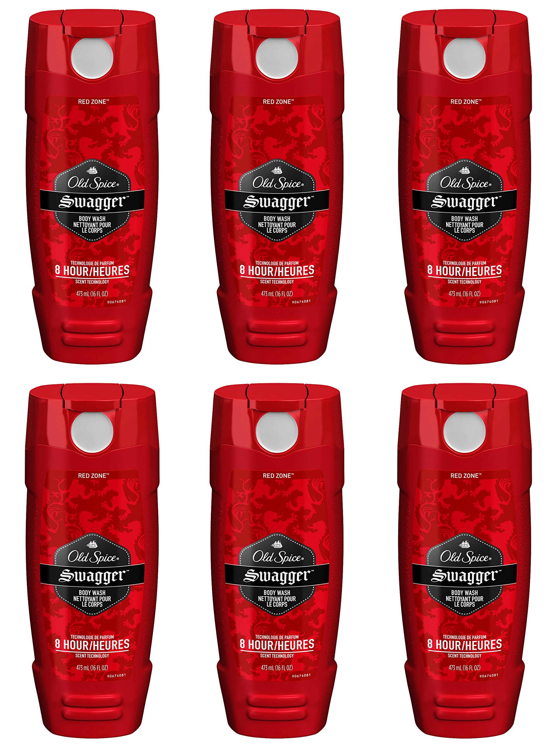 Old Spice Red Zone Men's Body Wash, Swagger, 16 Fluid Ounce (Pack of 6)