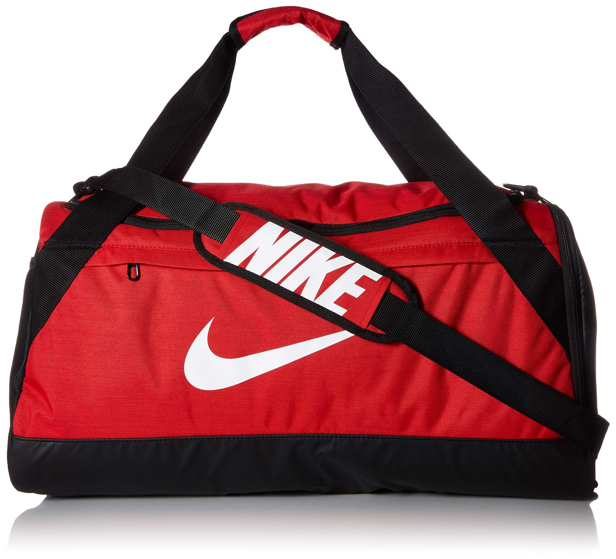 Nike Brasilia Training Duffel Bag, Versatile Bag with Padded Strap and Mesh Exterior Pocket, Medium, University Red/Black/White by Nike