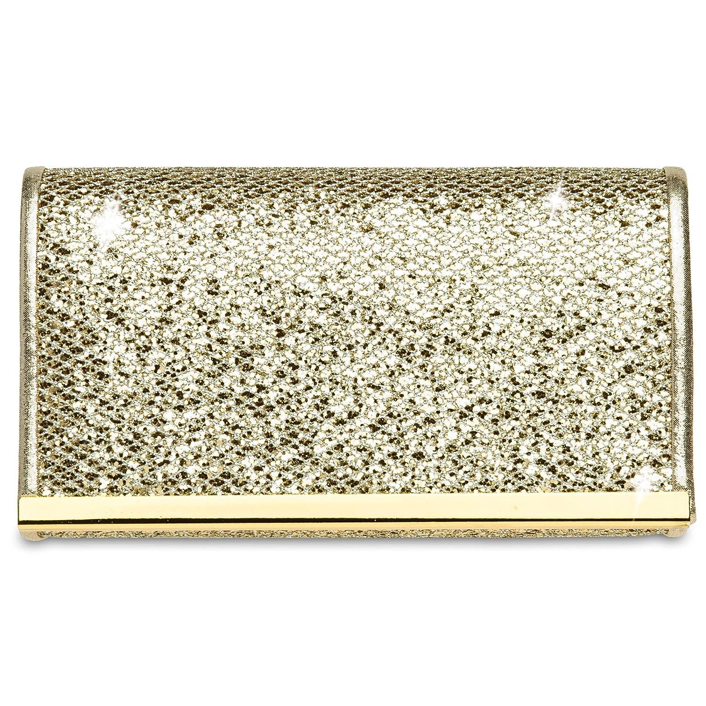 CASPAR TA344 Damen kleine elegante Glitzer Clutch Tasche / Abendtasche mit Metallspange 4251085283536