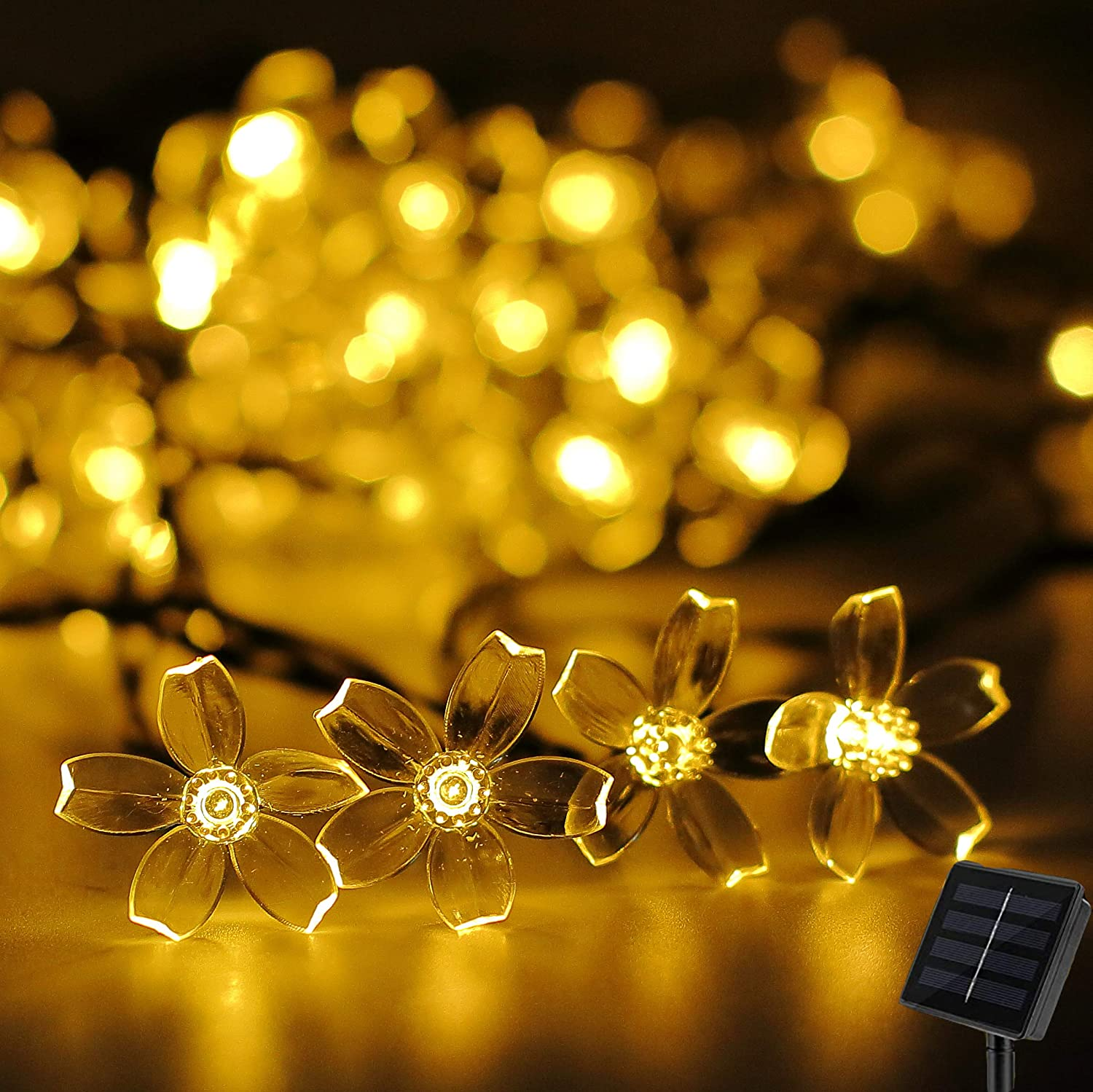 Darknessbreak Warm White Solar Flower String Lights Sakura lishts,23ft 50 LED Blossom Flower String Light Solar Power for Outdoor Garden,Lawn,Patio,Christmas Tree,Mother's Day Party Decorations.