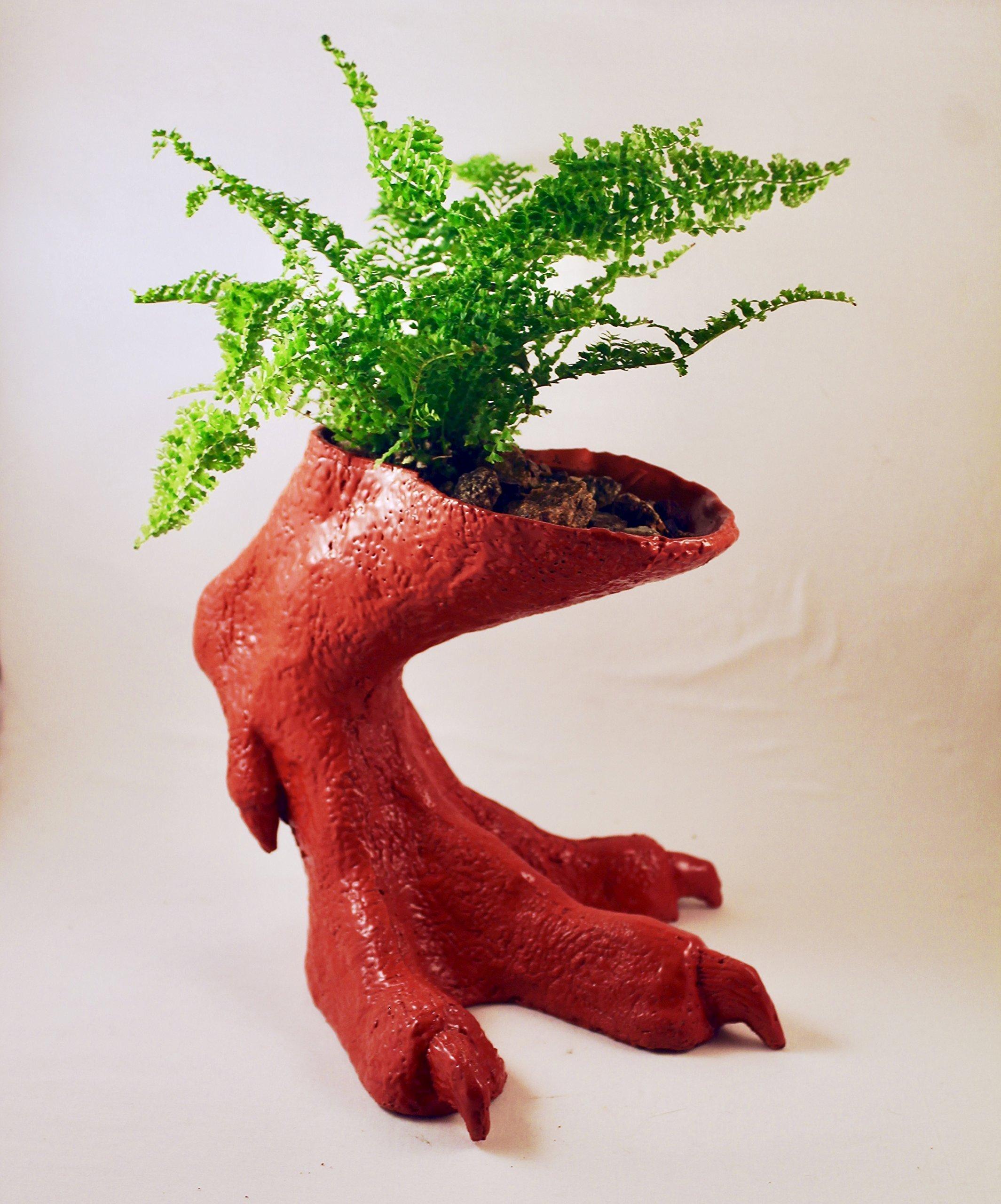 Tyrannosaurus Rex Foot Vase / Planter - Red