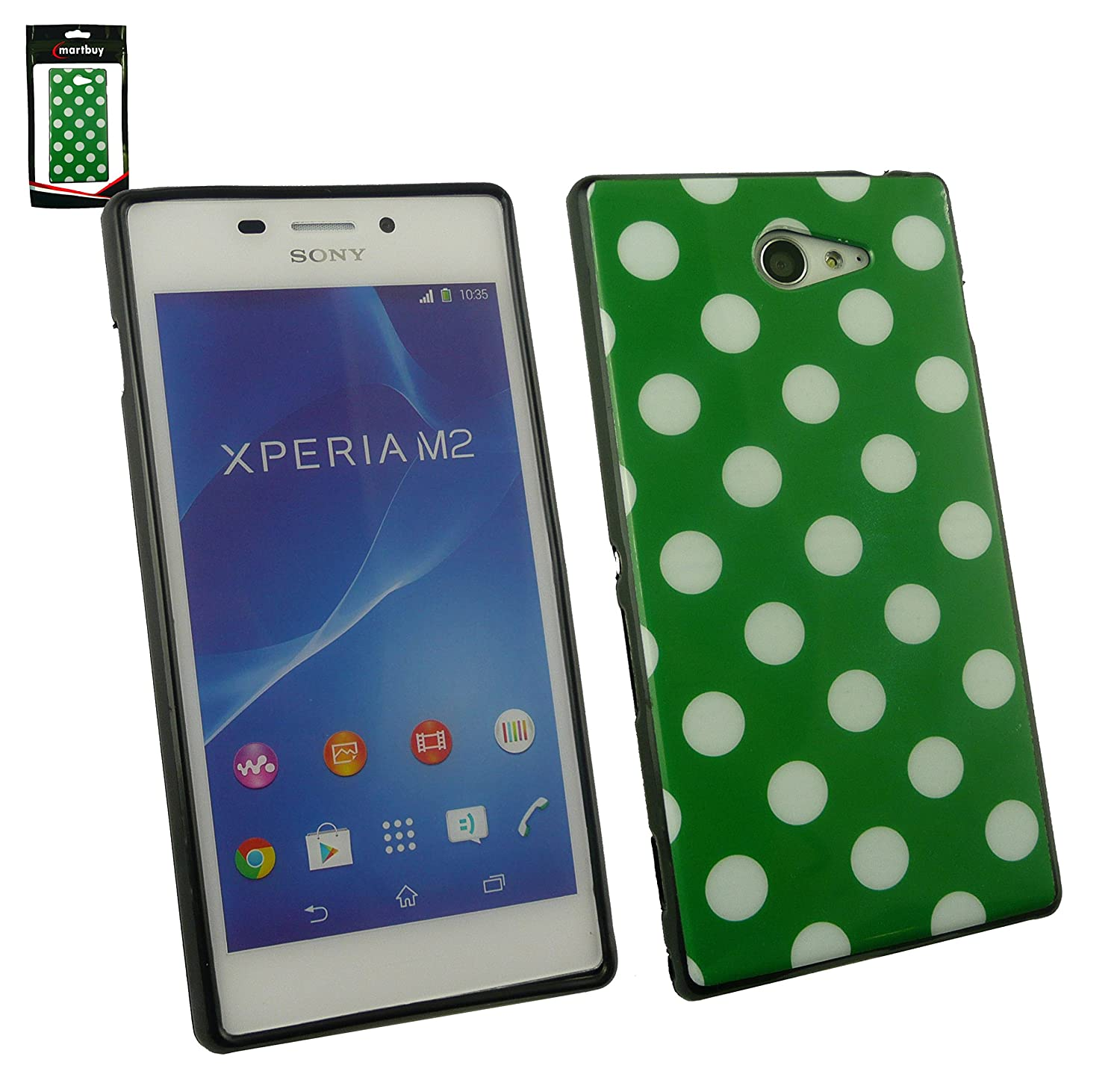 Emartbuy Sony Xperia M2 Dual Polka Dots Gel Skin Case Cover Green White Electronics
