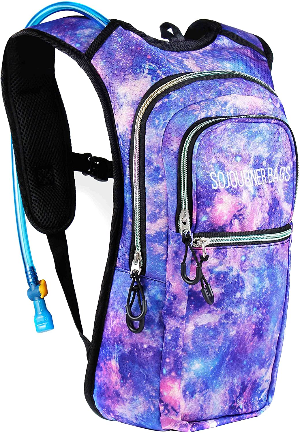 SoJourner Bags Rave Hydration Pack Backpack - 2L Water Bladder Included For  Festivals, Raves, Hiking, Biking, Climbing, Running And More One Size  Galaxy  ... 9971fb5f54