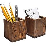 Set of 2 Natural Grain Wood Desktop Pen & Pencil Holder Cups, Office Supplies Organizer, Brown