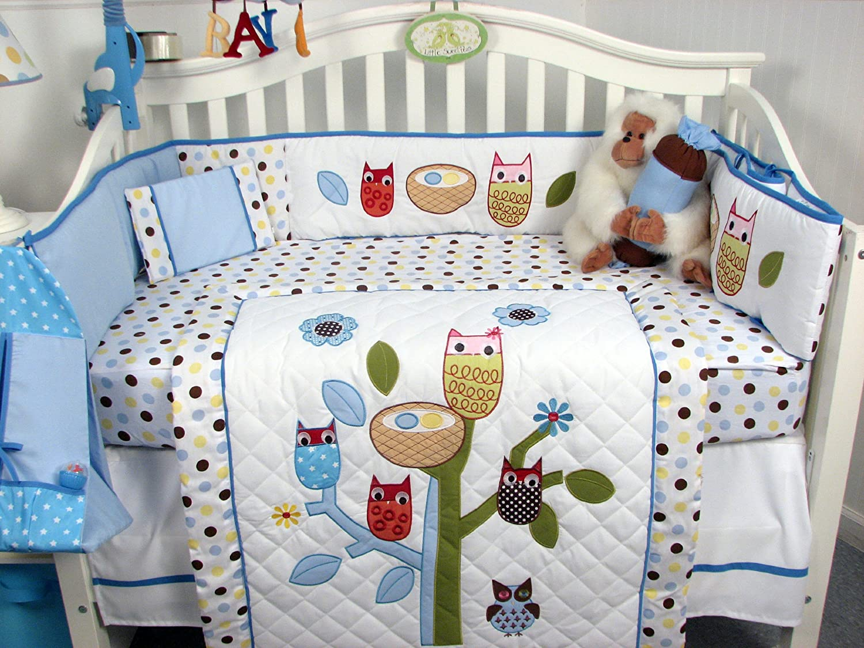 Amazon.com : SoHo Blue Owl Tree Baby Crib Nursery Bedding Set 13 pcs
