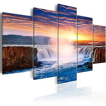 Murando   Bilder Wasserfall 200x100 Cm   Vlies Leinwandbild   5 Teilig    Kunstdruck   Modern