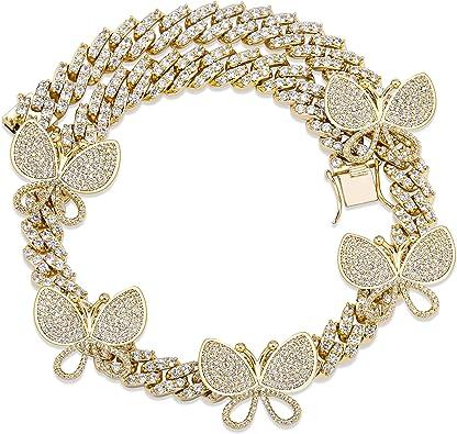Luxury Shiny Women Men Inlaid Rhinestone Hip Hop Link Chain Cuban Necklace