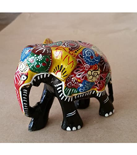 Amazon Real Natural Multicolored Wooden Lucky Elephant Trunk