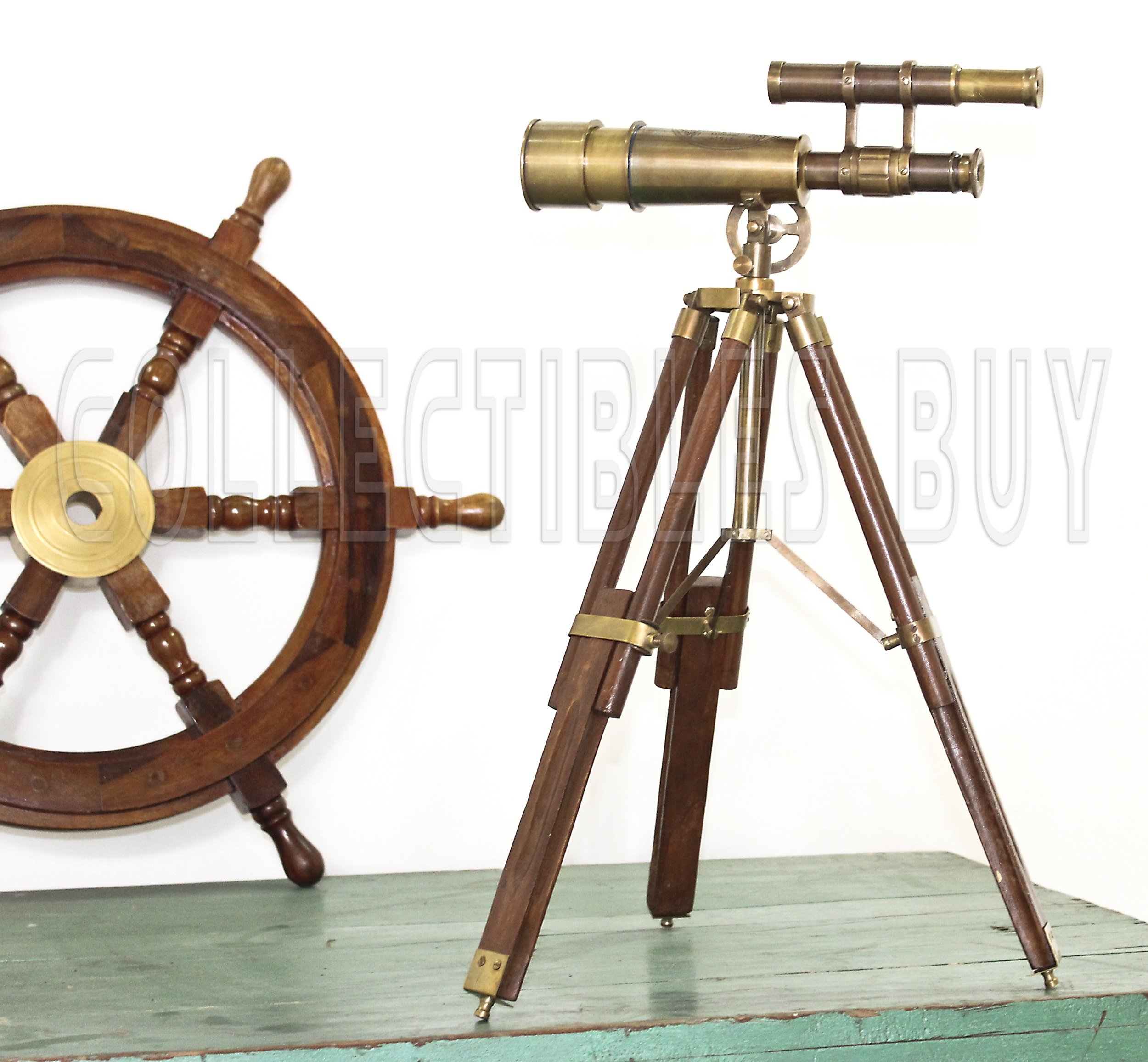 Table Décor Telescope Vintage Marine Gift Functional Instrument Collectibles Gift Item (Brass Antique + Wood)