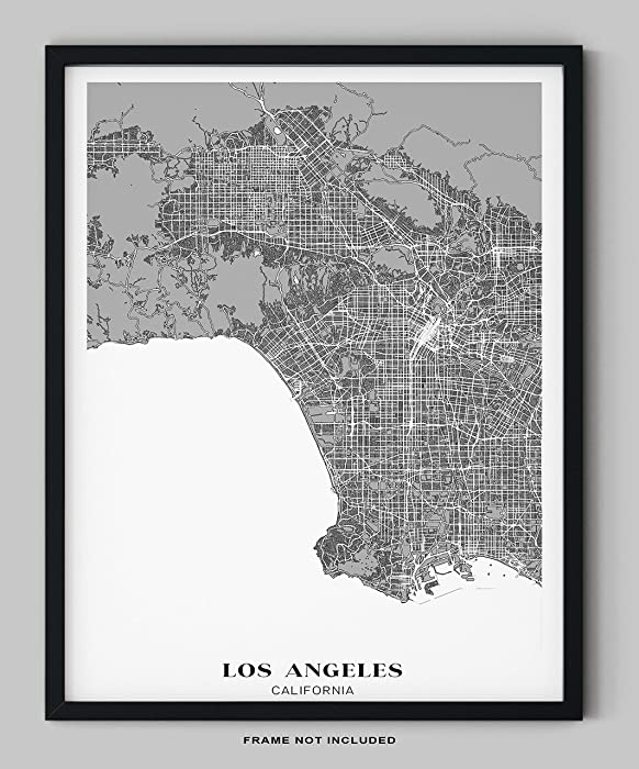 "Los Angeles City Map Wall Art - 11x14"" UNFRAMED Print - Modern, Minimal, Black And White LA Wall Decor - Los Angeles Poster, California Souvenirs"