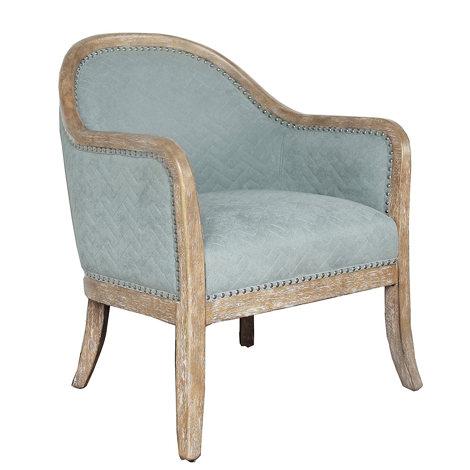 Pulaski Quilted Wood Frame Accent Chair Blue