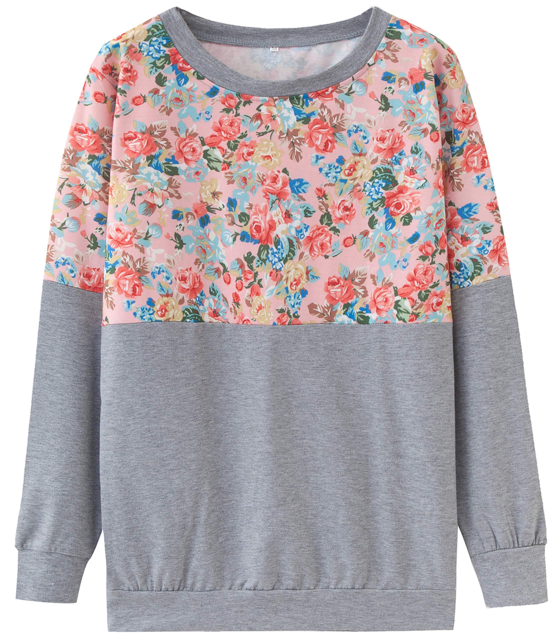 Finoceans Woman Sweatshirt Tunic Crew Neck Fall Stylish Tops Grey