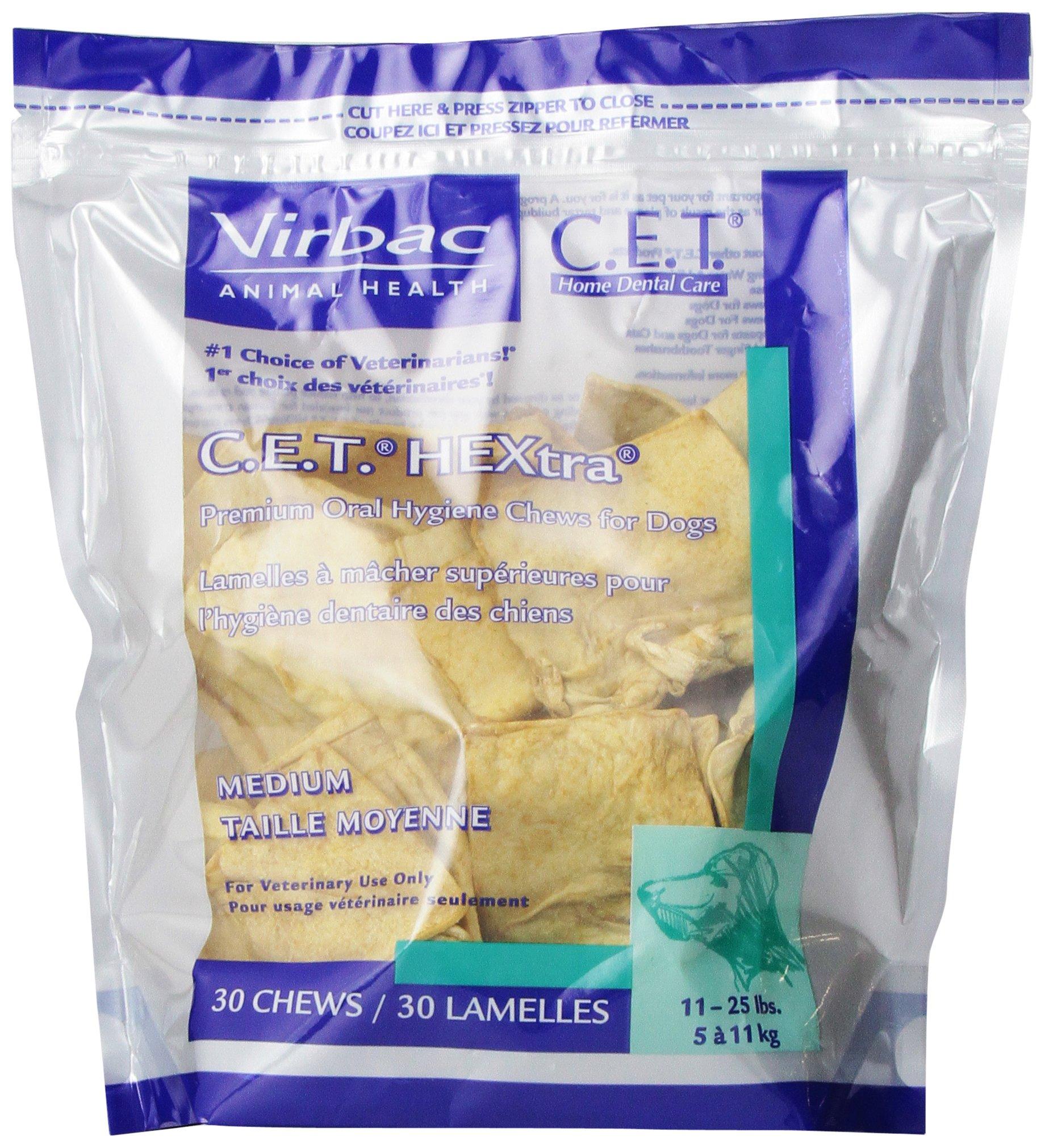 Virbac C.E.T. HEXtra Premium Oral Hygiene Chews, Medium Dog, 30 Count