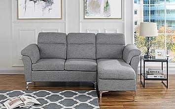 Amazon Com Casa Andrea Milano Modern Linen Fabric Sectional Sofa