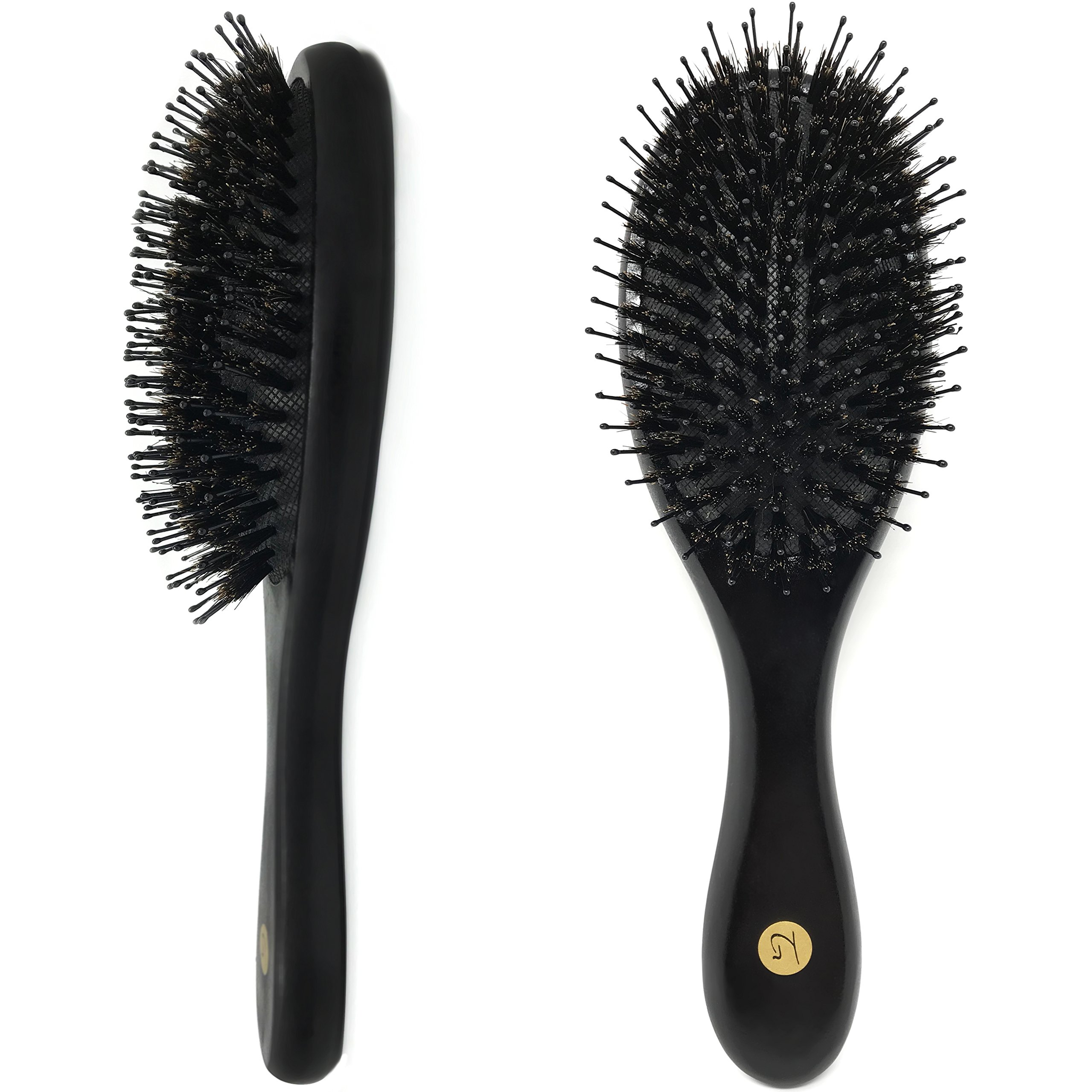 Hair Brush - Natural Boar Bristle Hair Brush for Men & Women with Added Nylon Pins and Ball Tips for Optimal Detangling & Scalp Stimulation - Large Paddle Hairbrush for Adding Shine | All Hair Types