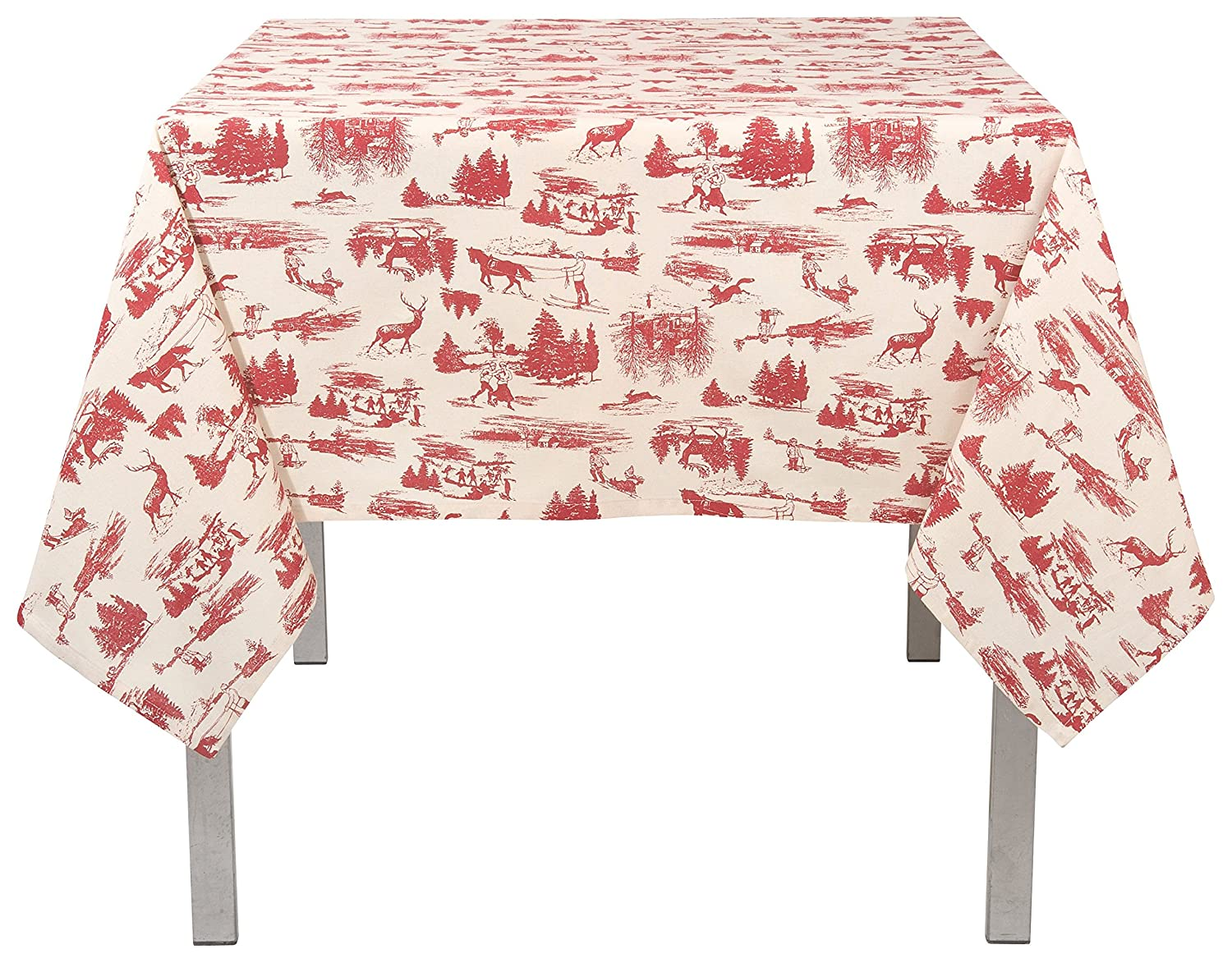 Christmas Tablescape Décor - Christmas holiday red and white toile print rectangle cotton tablecloth