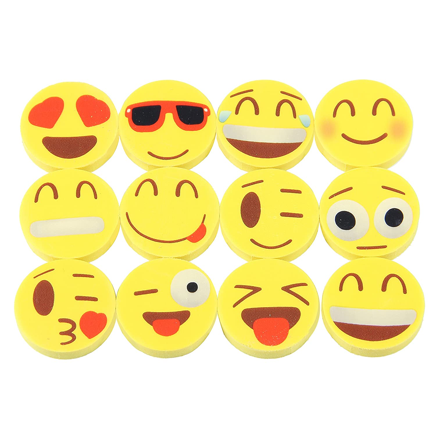 144 Novelty Cute Emoji Erasers Ideal for Homework Rewards and Kids Party Favors Colorful Expressions Kids Will Love Materials Wont Smudge or Tear Paper Fun School Supplies