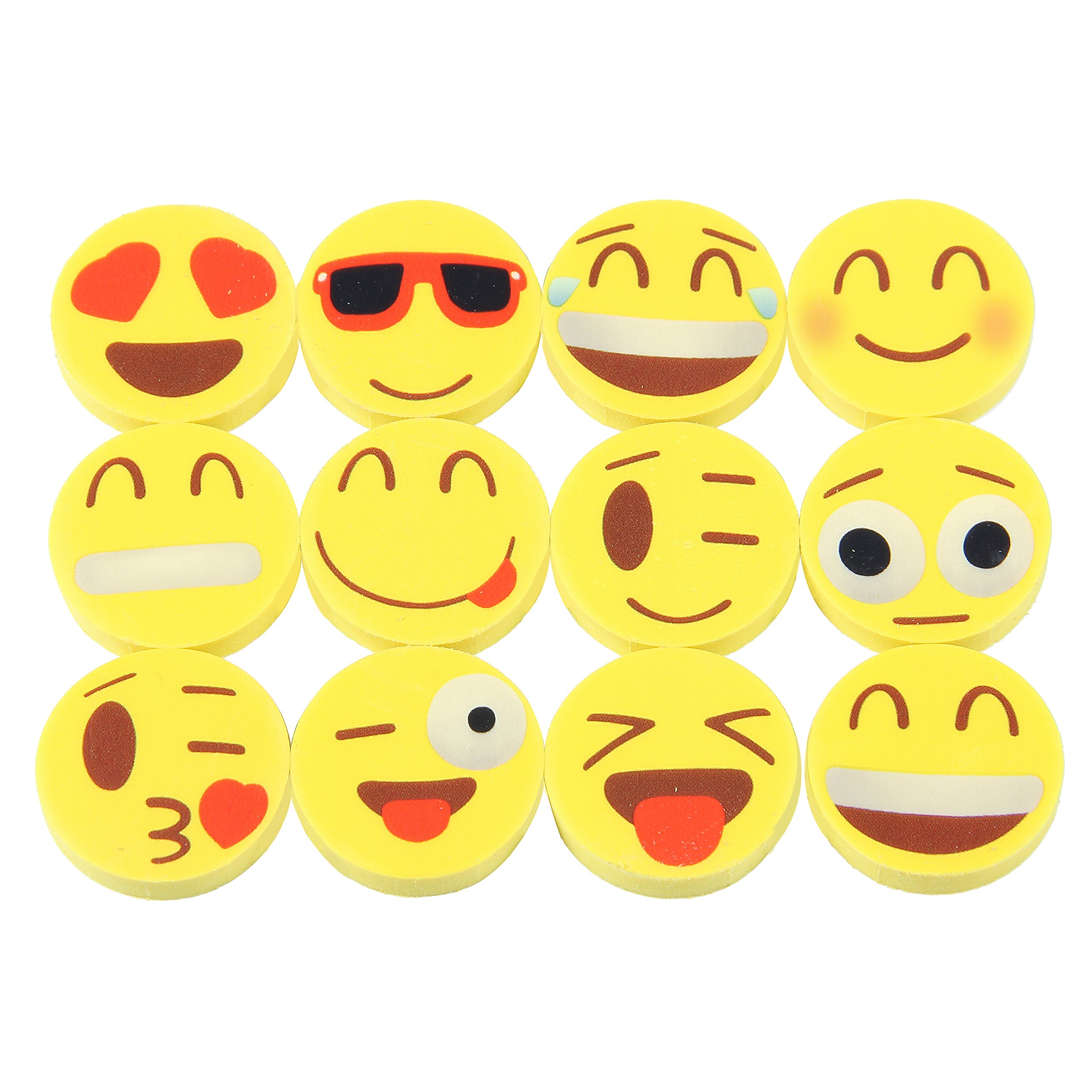 144 Novelty Cute Emoji Erasers - Fun School Supplies - Colorful Expressions Kids Will Love Materials Won't Smudge or Tear Paper - Ideal for Homework Rewards and Kids Party Favors