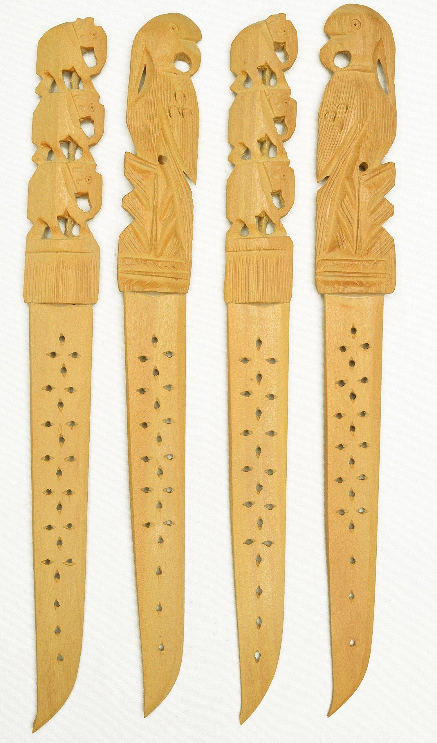 Lot 4Pcs White Wood Paper Knife Letter Opener Elephant Fish Carving India