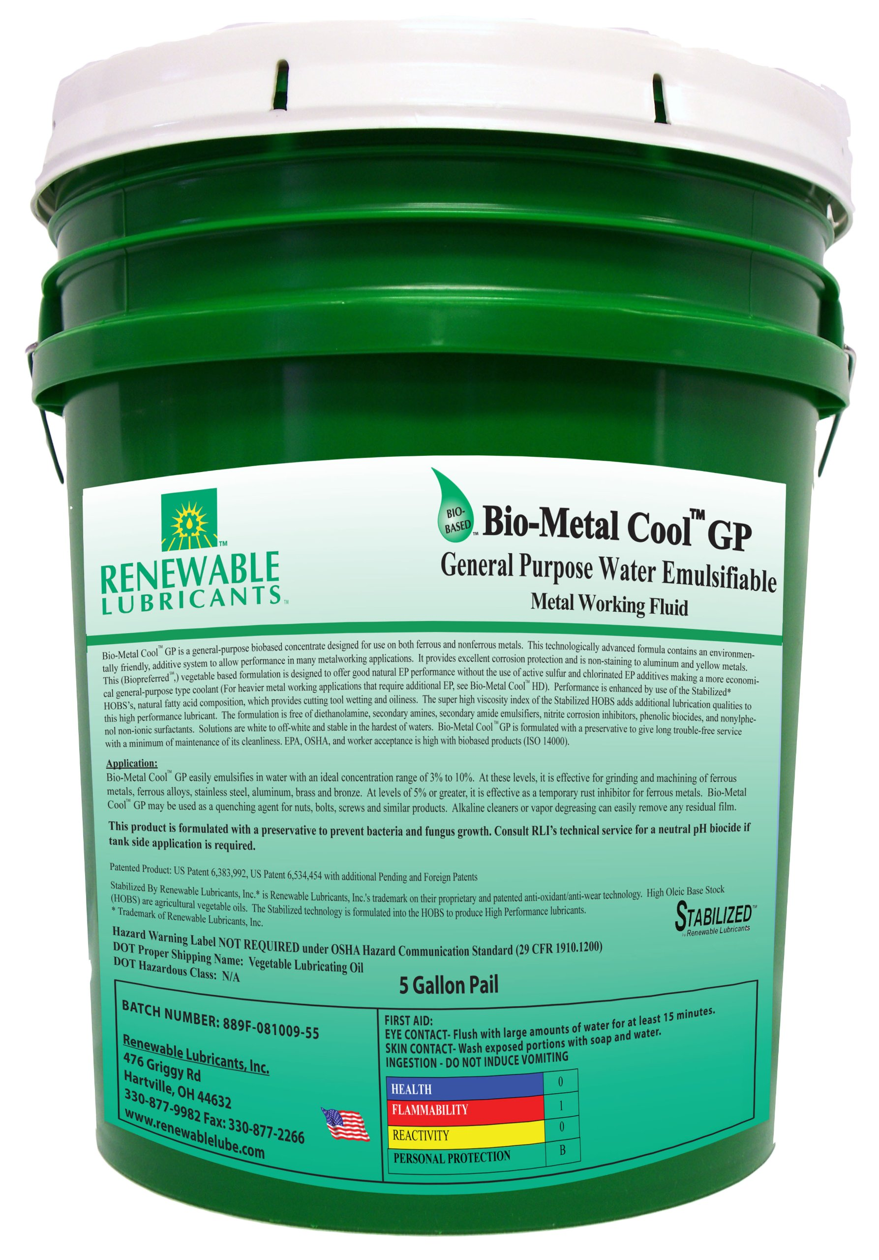 Renewable Lubricants Bio-Metal Cool General Purpose Cutting Oil, 5 Gallon Pail by Renewable Lubricants