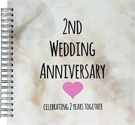 12 by 12-Inch 3dRose db/_154429/_2 2nd Wedding Cotton Celebrating 2 Years Together-Second Anniversaries Two Years Memory Book