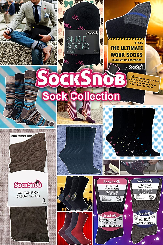 Sock Snob 6 Pares Hombre 100/% Algodon Negros Calcetines Elegantes Business Finos Verano Respirable Deporte