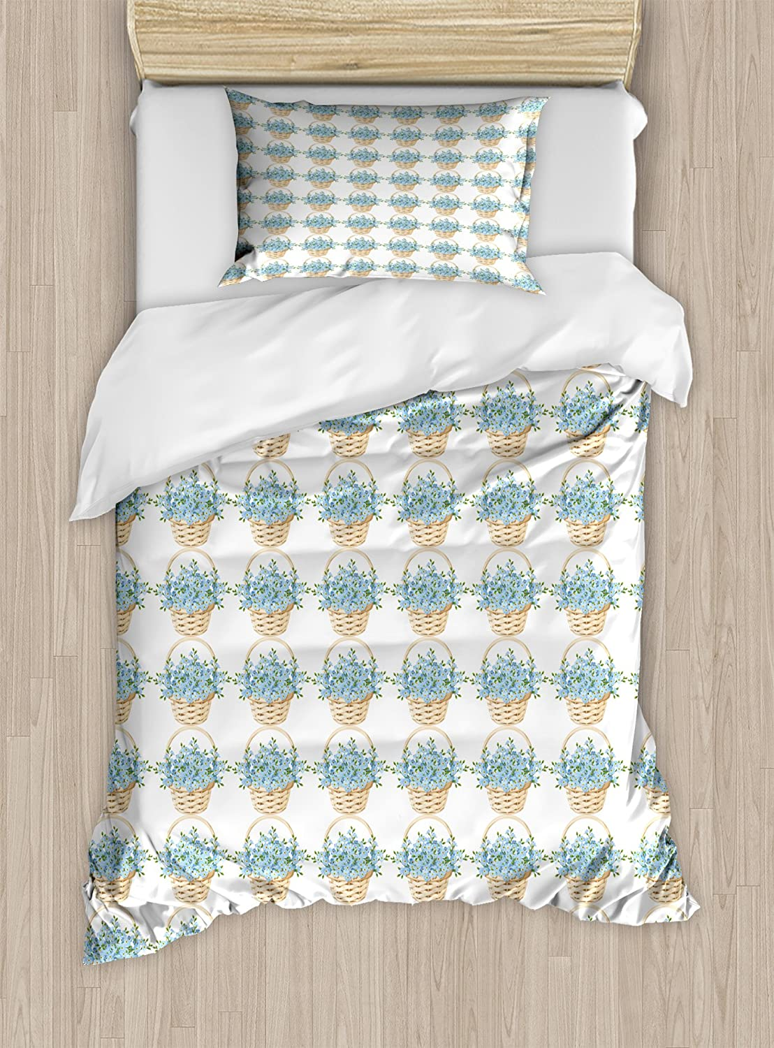 Ambesonne Ivory and Blue Twin Size Duvet Cover Set, Wicker Basket Design with Spring Season Blooming Flowers, Decorative 2 Piece Bedding Set with 1 Pillow Sham, Pale Blue Ivory and Green
