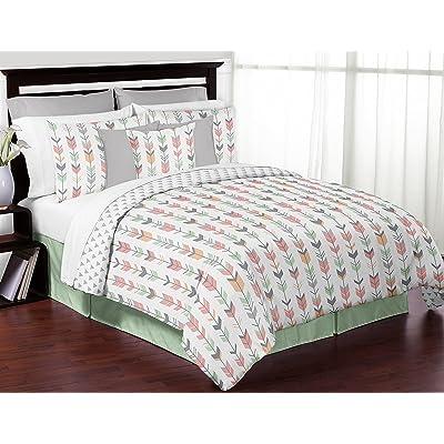Sweet Jojo Designs Grey, Coral and Mint Woodland Arrow Print Girls 3 Piece Childrens Teen Full/Queen Bedding Set: Home & Kitchen