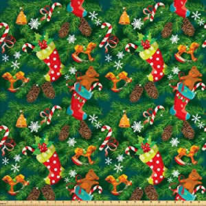 Ambesonne Christmas Fabric by The Yard, Xmas Accessories Stockings Candies Horse Teddy Bear Toys on Pine, Decorative Fabric for Upholstery and Home Accents, 1 Yard, Brown Green