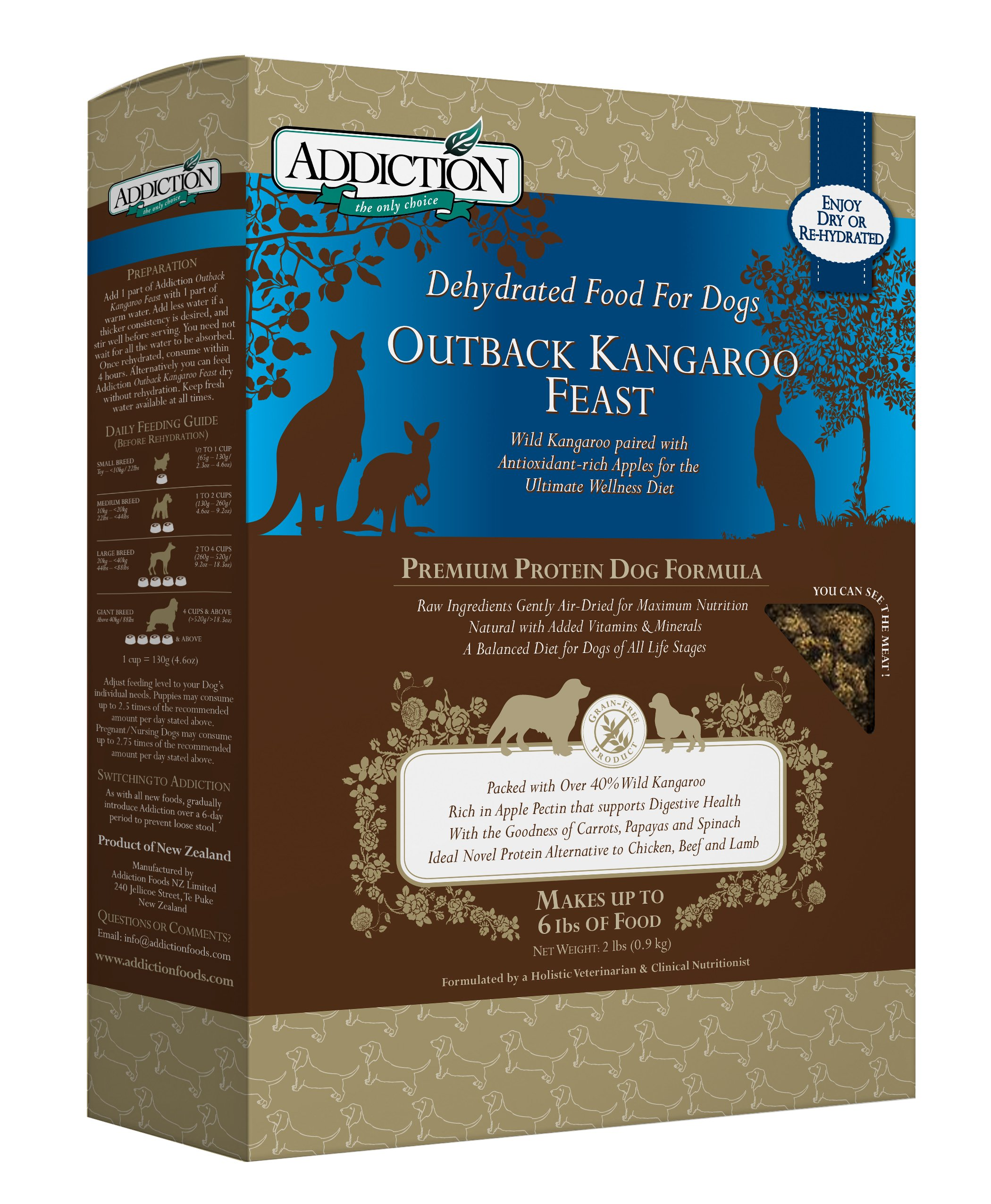 Addiction Outback Kangaroo Feast Grain Free Dehydrated Dog Food, 2 Lb. by Addiction Pet Foods