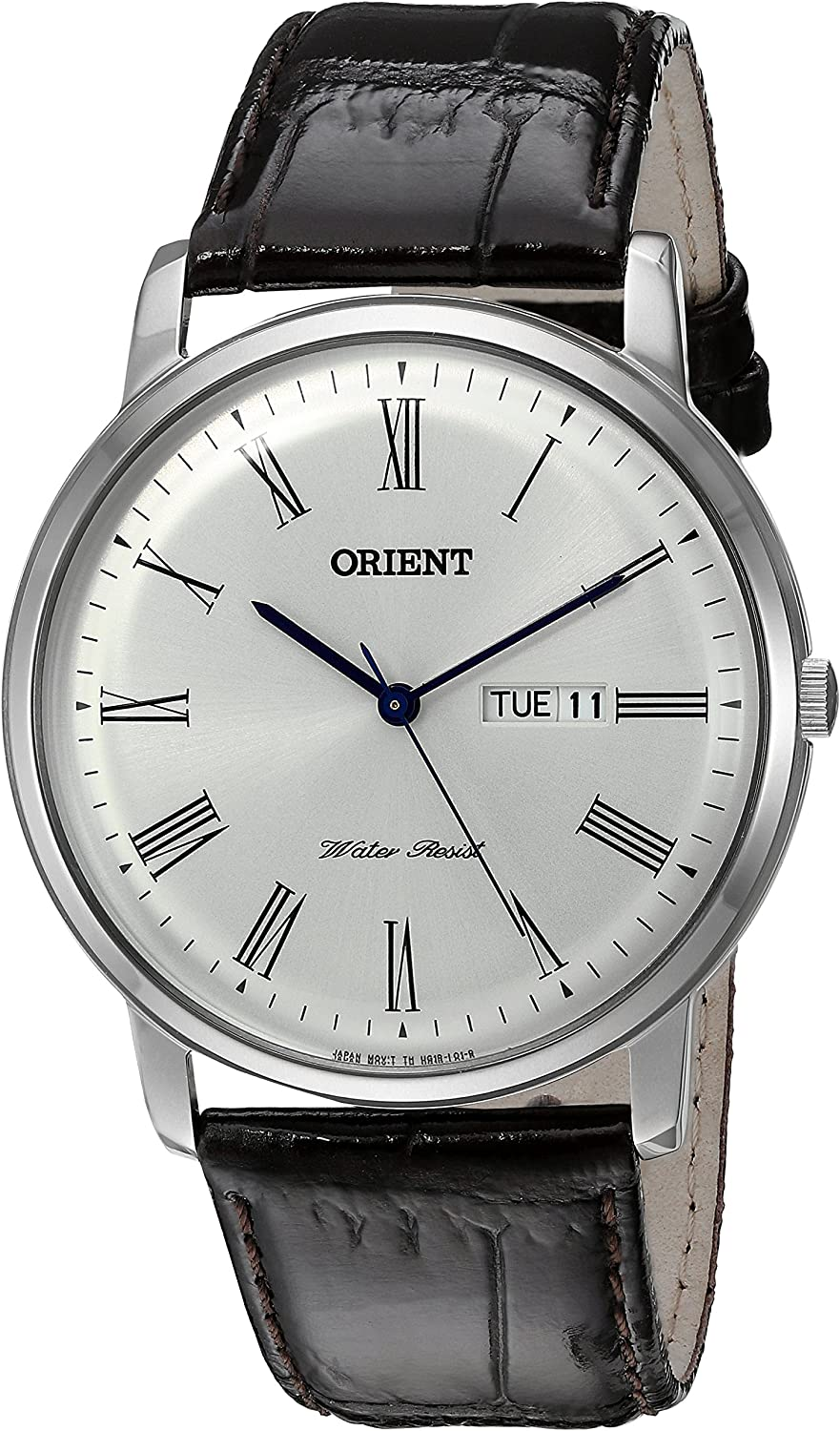 Orient Men s Capital Version 2 Quartz Stainless Steel and Leather Dress Watch, Color Brown Model FUG1R009W9