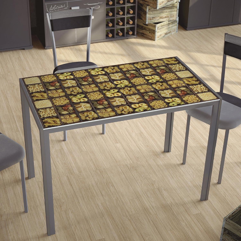 Mesa para cocina fija con tablero de cristal templado serigrafiado ...