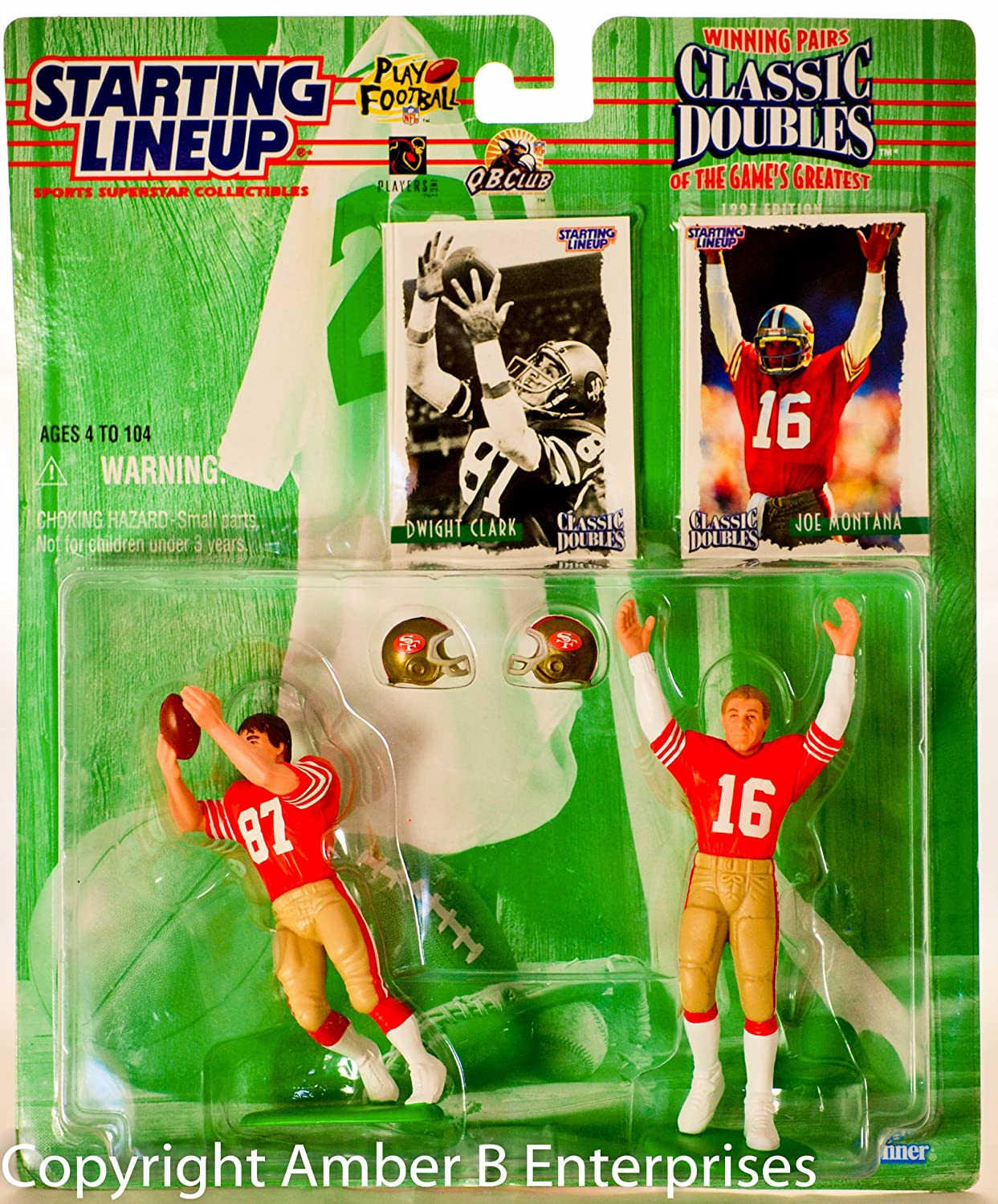 San Francisco 49ers Dwight Clark Winning Pairs Starting Lineup Action Figures Exclusive Collector Trading Cards San Francisco 49ers 1997 Nfl Classic Doubles Joe Montana Toy Figures Toys Game Room