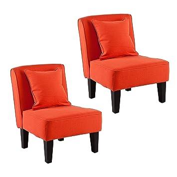holly u0026 martin purban 2pc slipper chairs redorange - Slipper Chairs