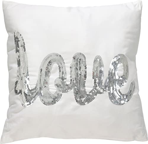 SARO LIFESTYLE Love Sequin FLD Throw Pillow, 18