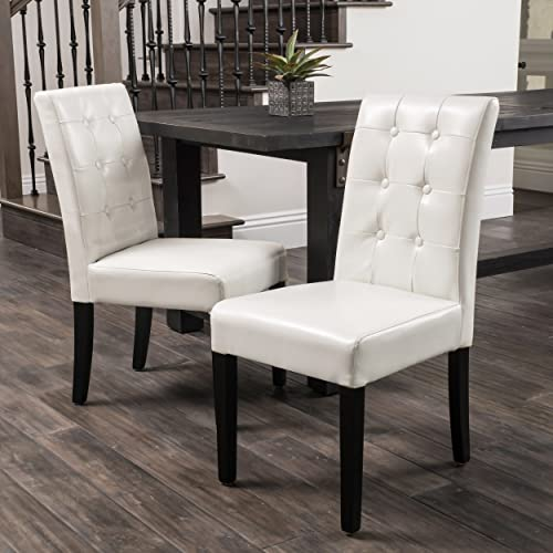 Christopher Knight Home Roland Ivory Leather Dining Chairs Set of 2