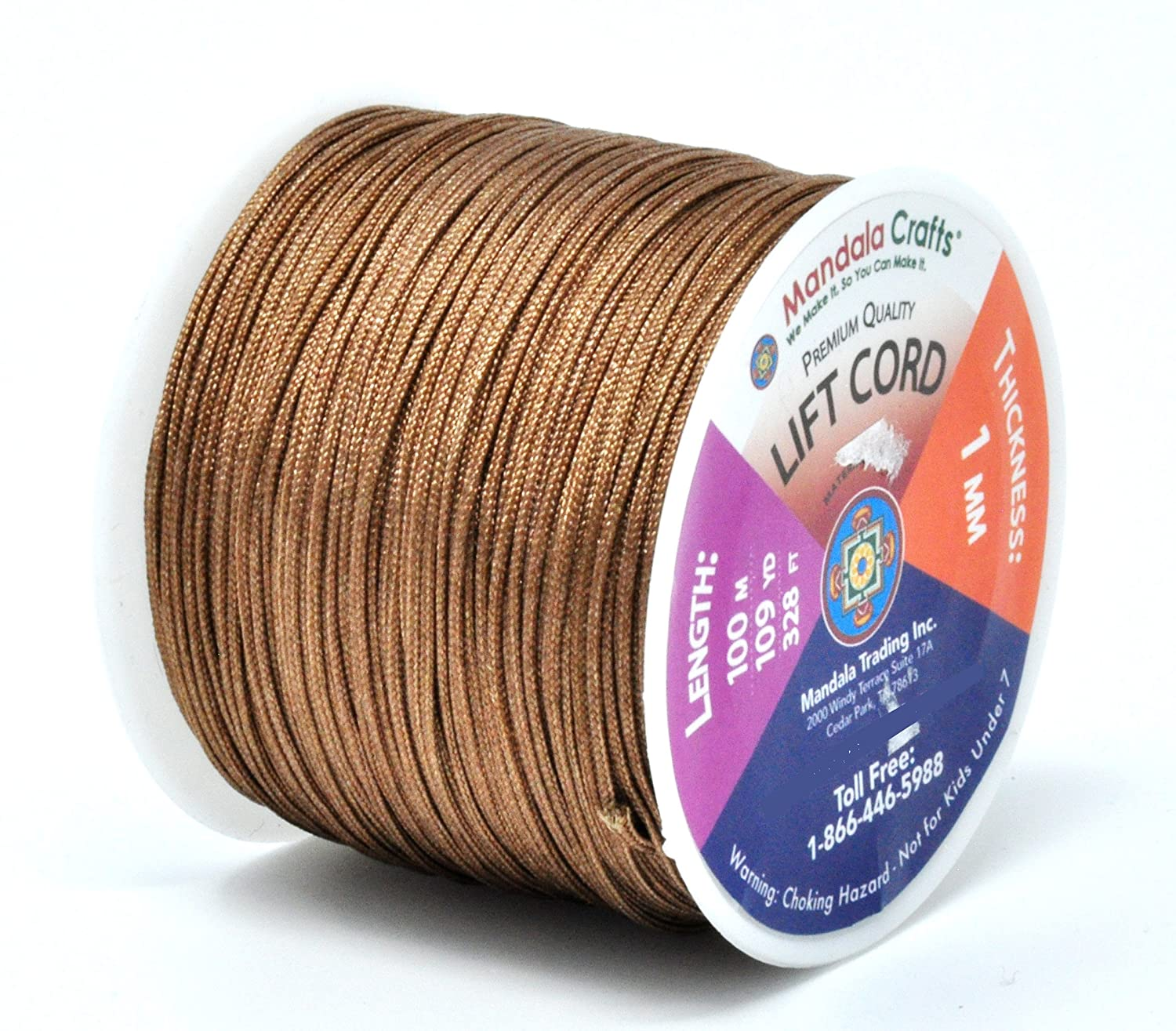 Windows 1mm, Chocolate Brown Shades Mandala Crafts Blinds String Lift Cord Replacement from Braided Nylon for RVs and Rollers