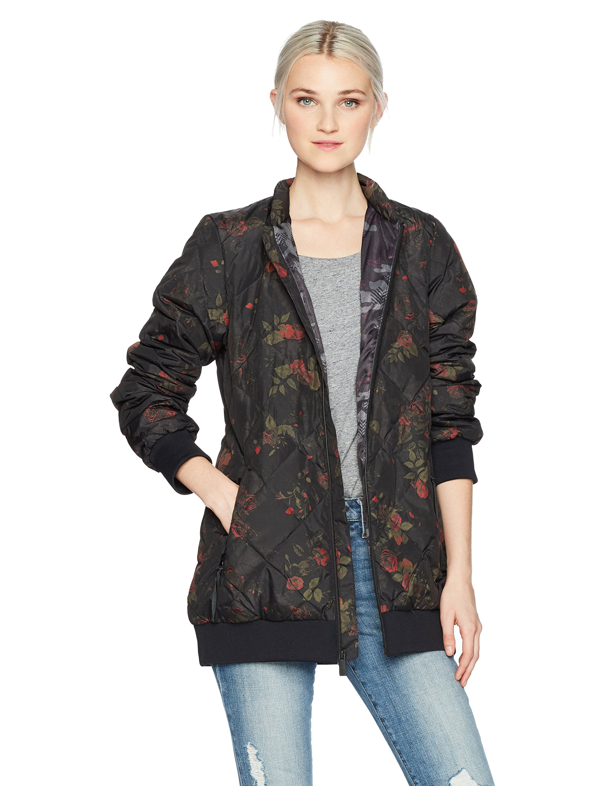 Volcom Junior's Casco Down Floral Print Puff 2 Layer Shell Snow Jacket, Black Floral Print, Large by Volcom