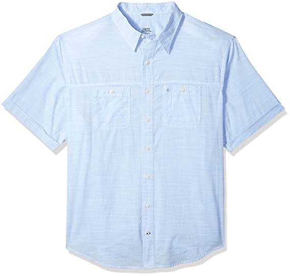 2f136467 IZOD Men's Big and Tall Saltwater Chambray Solid Short Sleeve Shirt, Little  boy Blue,