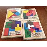"""Set of 4 PUZZANGLES - Wooden Tangram Puzzles - BRAIN Teaser MOTOR Skills - Toys PARTY FAVORS - EDUCATIONAL -Classroom Wood Shapes 4"""" Jigsaw"""