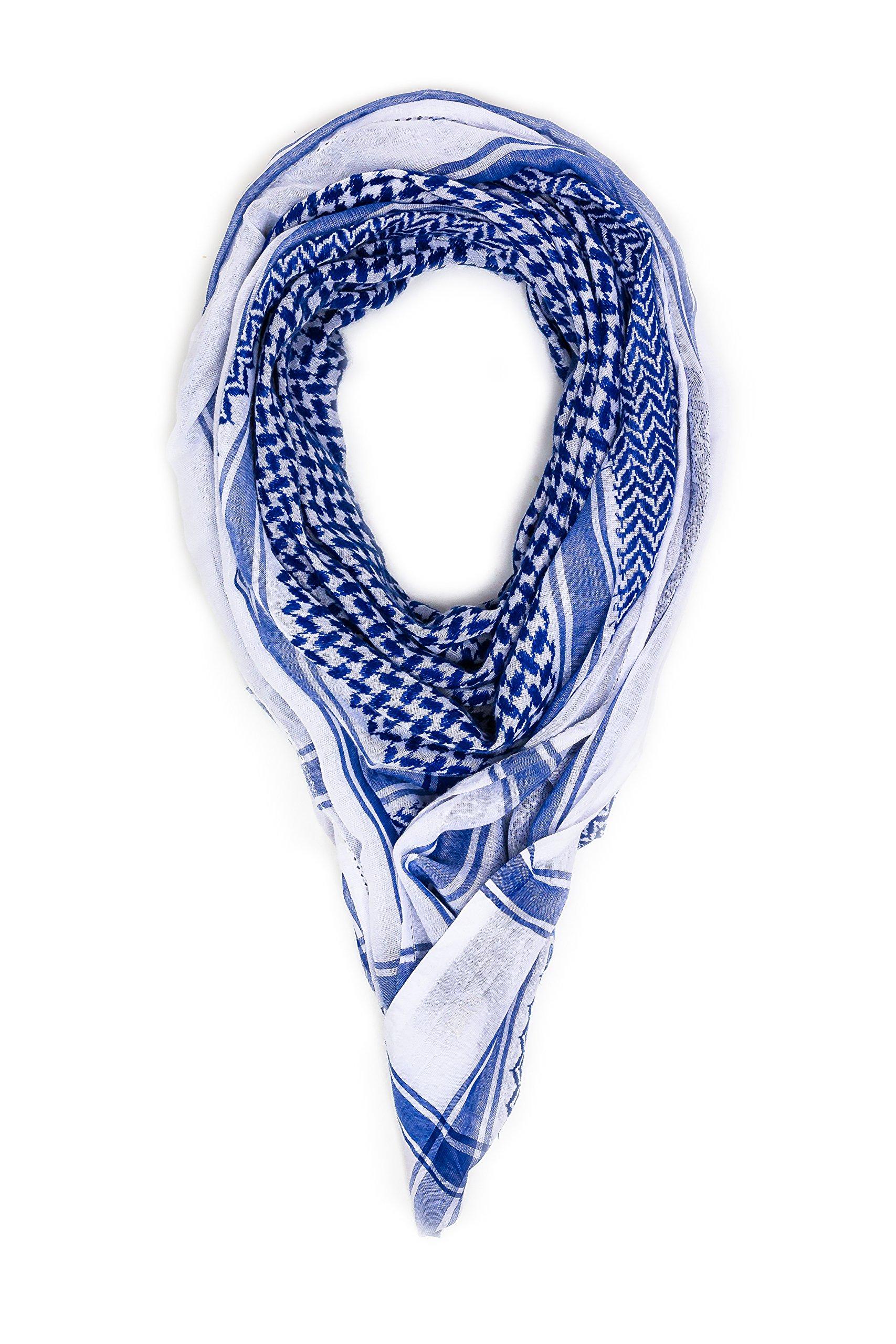 Mohavy Blue Unisex Premium Shemagh Keffiyeh | Men Women Head Scarf | Oversized Scarves