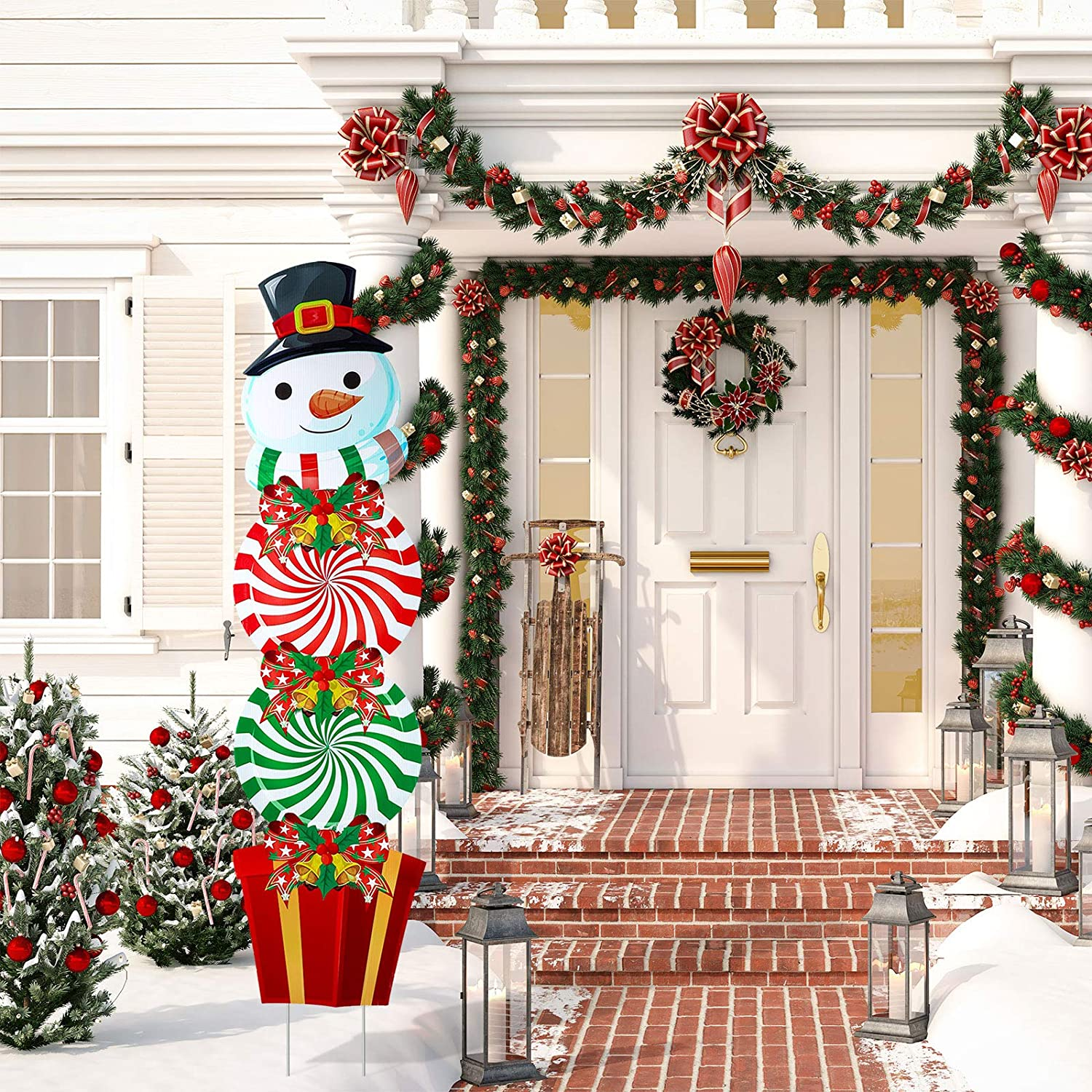 Christmas Yard Signs Stakes Decorations Xmas Snowman Plastic Yard Decor Outdoor Snowman Candy Garden Signs with Stakes for Outdoor Patio Winter Ornaments, 54 Inches