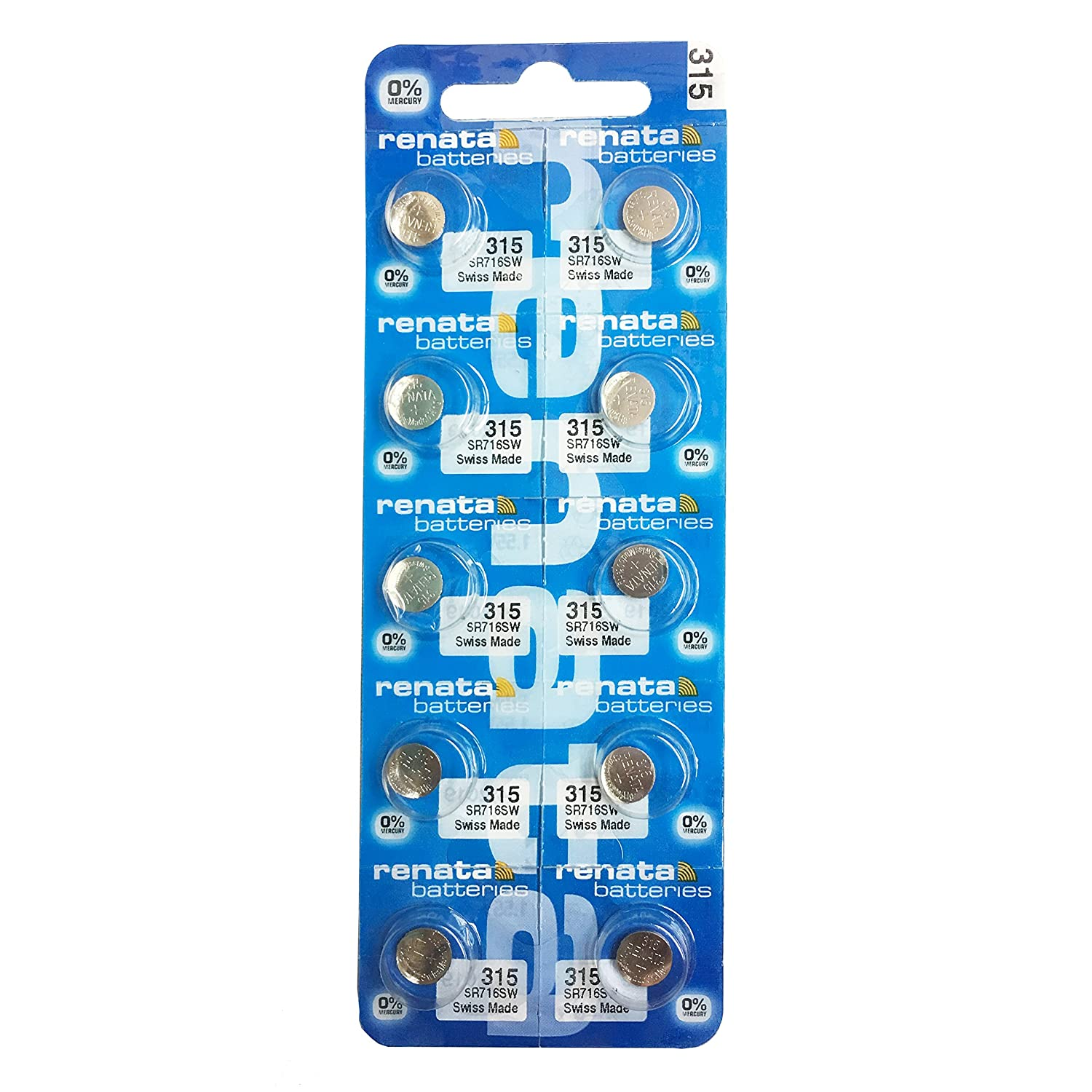 Pack of 10 Renata batteries, All sizes avail: 321, 364, 371, 373, 377, 379, 393, 394, 395, CR1216, CR1220, CR1616, CR1620, CR1632, CR2016, CR2025, CR2032, CR2325, CR2430, CR2450 & more