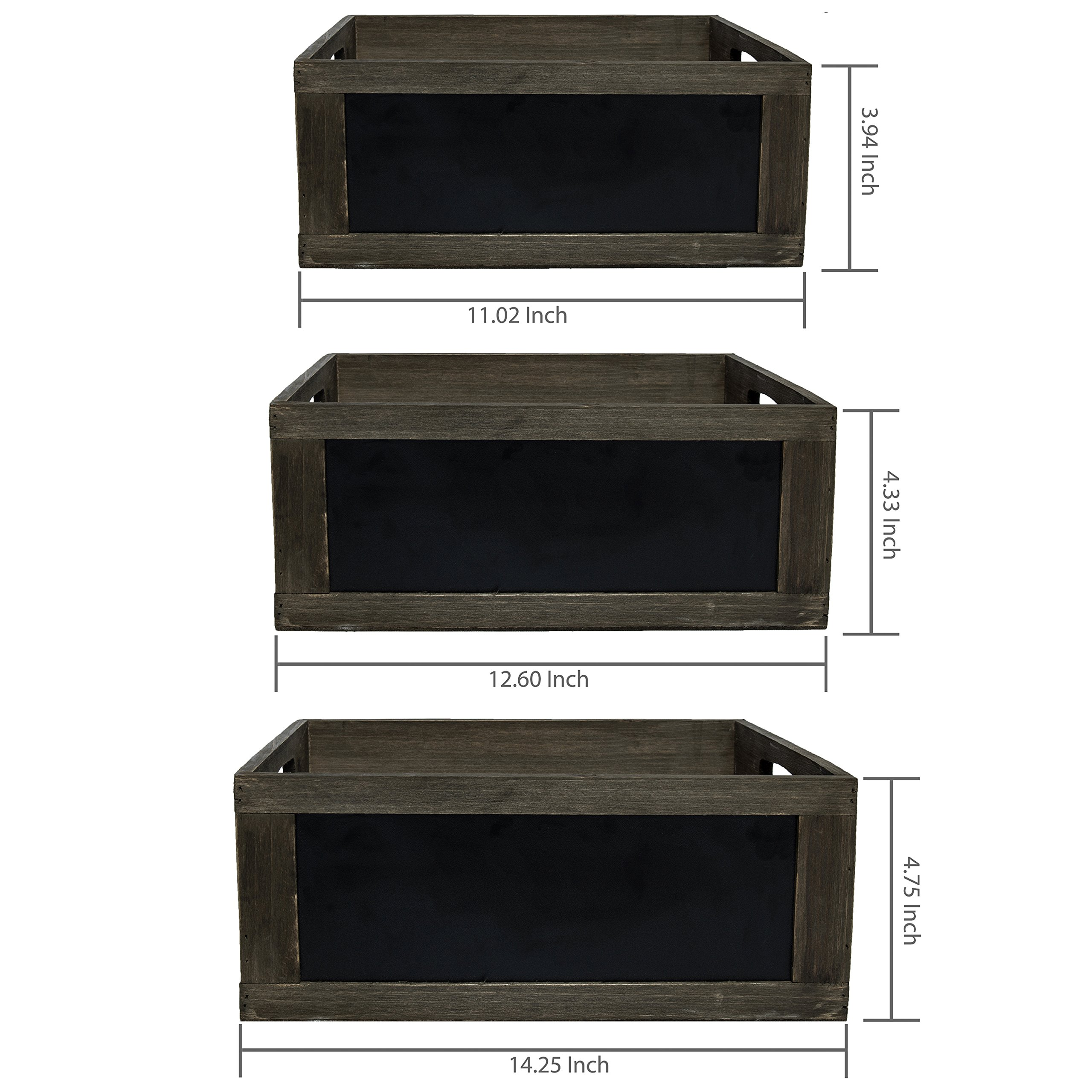 MyGift Rustic Brown Wood Nesting Storage Crates with Chalkboard Front Panel and Cutout Handles, Set of 3 by MyGift (Image #6)