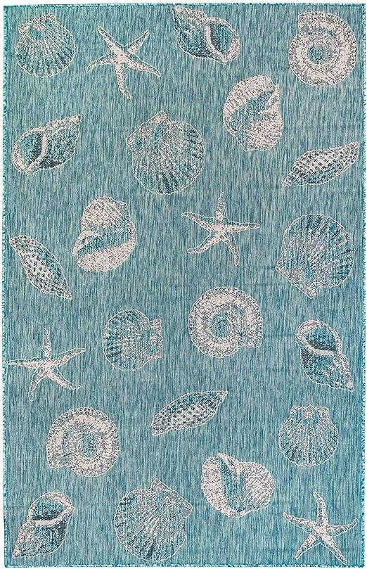 UV Fade Resistant Sea Shells CHINA BLUE Outdoor Fabric