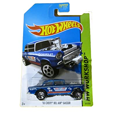 Hot Wheels 2014 HW Workshop '55 Chevy Bel Air Gasser 241/250, Blue.: Toys & Games