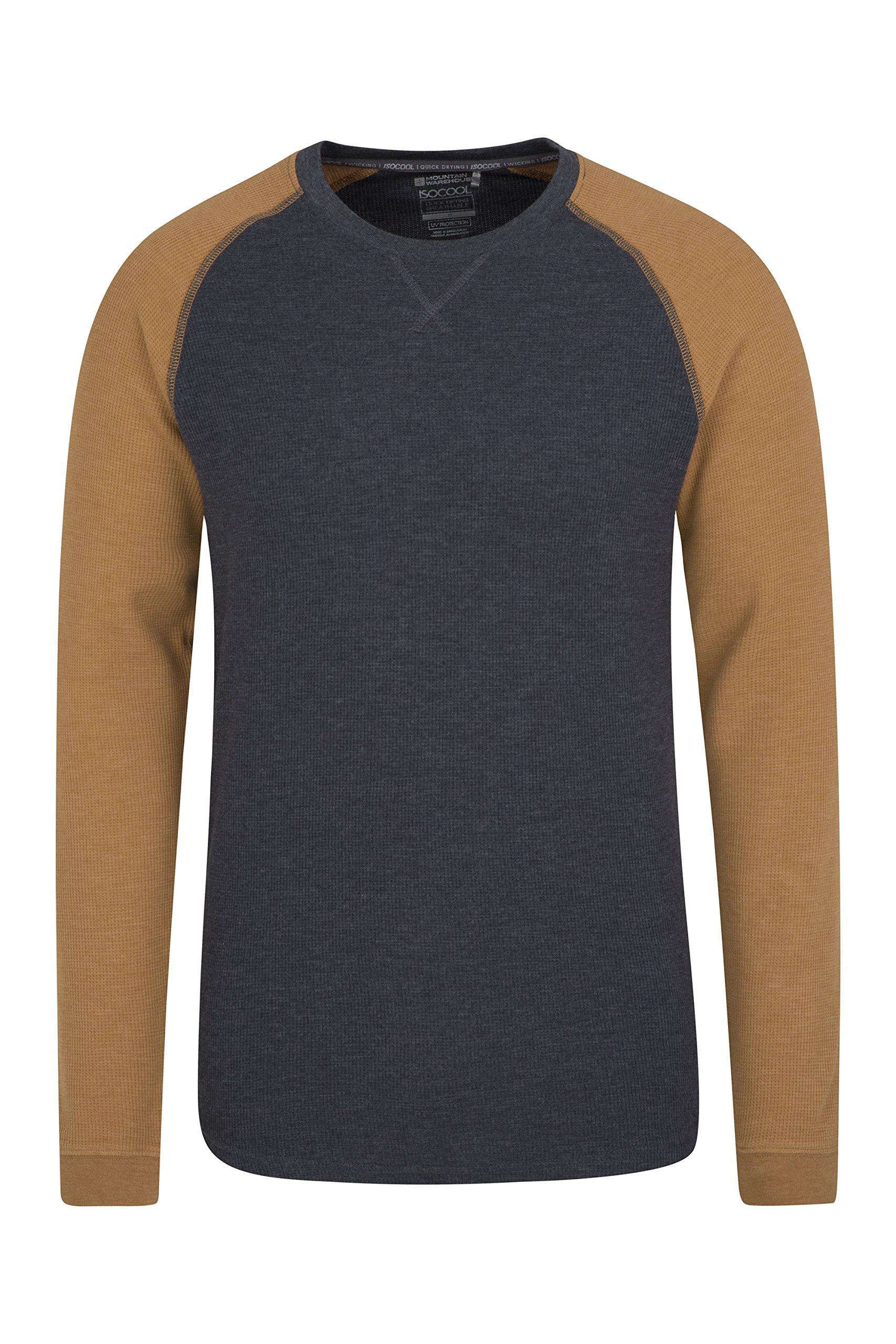 Mountain Warehouse Waffle Long Sleeve Mens T-Shirt - Round Neck Tee Dark Grey Medium