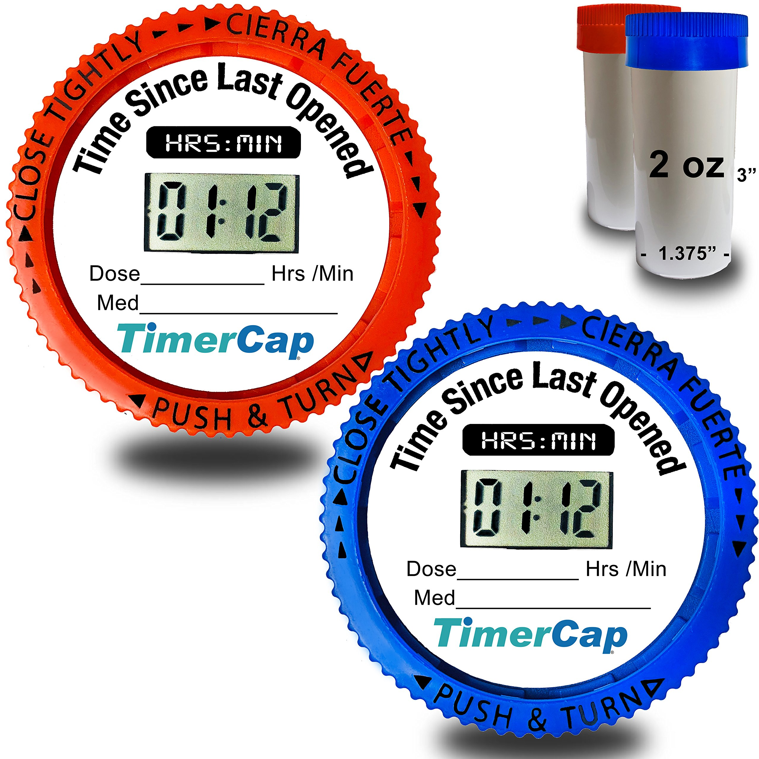 Timer Caps with Std. 2 oz. Vials (Qty 2) - Pill Organizer & Reminder for Medications