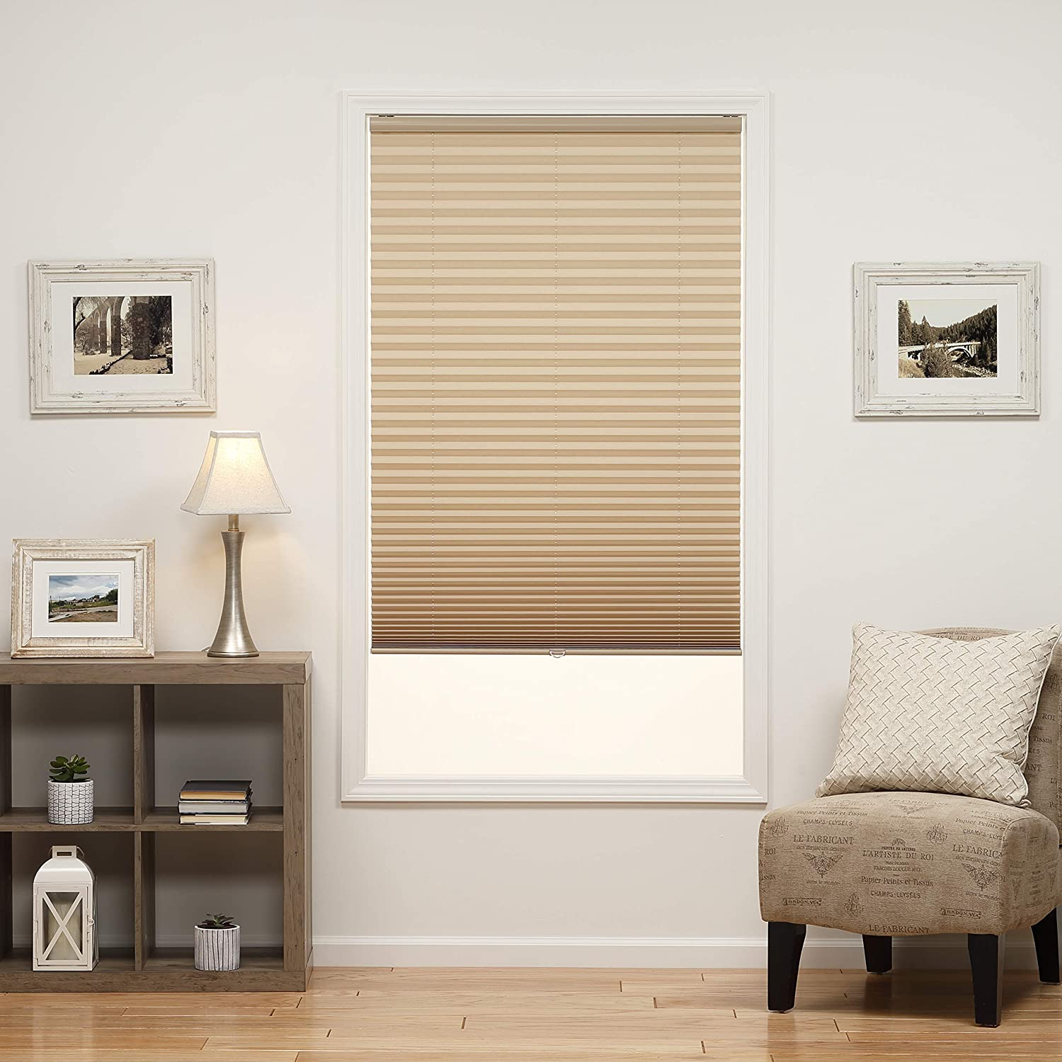 Camel DEZ Furnishings QDCM260480 Cordless Light Filtering Pleated Shade 26W x 48L Inches