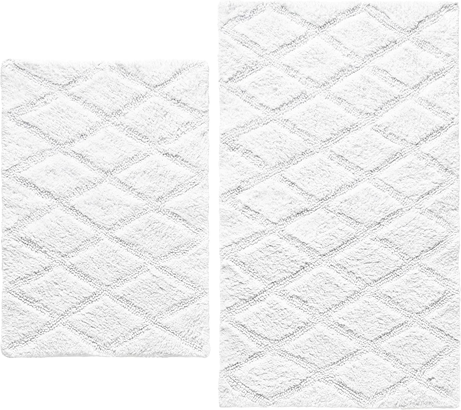Vera Wang   Tufted Diamond Collection   Soft and Absorbent, Plush Reversible Bath Rug Set, Modern Designer Style for Bathroom Décor, 2-Piece, White,USHS6D1117231